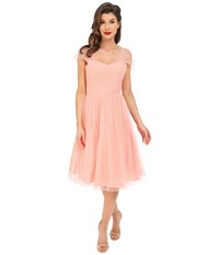 Unique Vintage Chiffon Garden State Party Dress Peach Dot Women's Dress Pink