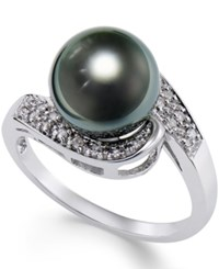 Macy's Cultured Tahitian Black Pearl 9Mm And Diamond 1 10Ct. T.W. Swirl Ring In 14K White Gold Gray