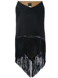 Agnona Fringed Wide Scarf Black