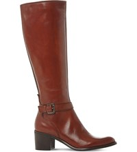 Dune Tollie Leather Knee High Boots Tan Leather