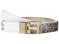 Ivanka Trump 25Mm Reversible Peekaboo Perf Belt White Women's Belts