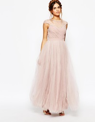Little Mistress Ruched Bodice Maxi Dress With Pleated Tulle Skirt Mink