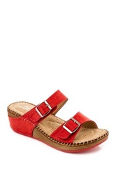Godiva Double Buckle Wedge Sandal Red