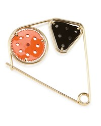Meccano Double Pin For Handbag Orange Black Gold Loewe