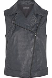 Vince Moto Textured Leather Vest Anthracite