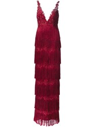 Marchesa Notte Fringed Gown Pink And Purple