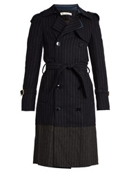 Golden Goose Double Breasted Pinstriped Trench Coat Navy