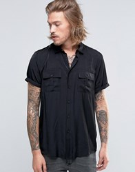Asos Military Shirt In Black Viscose In Regular Fit Black