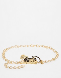 Black And Brown Panther Chain Belt Shinygold