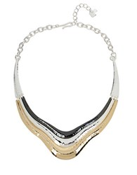 Robert Lee Morris Hammered Texture Layered Sculptural Frontal Necklace Tri Tone