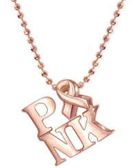 Alex Woo Pink Ribbon Pendant Necklace In 14K Rose Gold