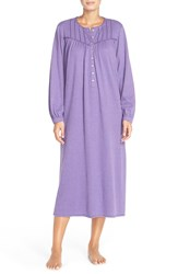 Eileen West 'Persian' Long Sleeve Nightgown Purple Heather
