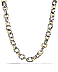 David Yurman Oval Large Link Necklace With Gold 18.25 Silver Yellow Gold