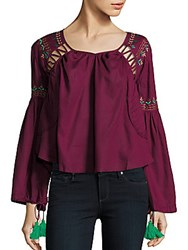 Kas Embroidered Roundneck Top Wine