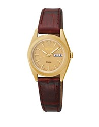 Seiko Functional Solar Goldtone Finished Stainless Steel Strap Watch Brown