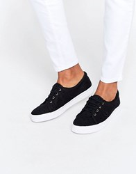 Fred Perry Aubyn Black Flocked Polka Dot Twill Plimsoll Trainers Black Black