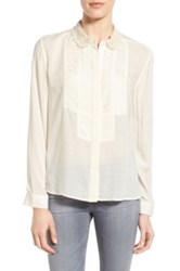 Paul And Joe Sister 'Mallika' Pintuck Pleat Jacquard Shirt White