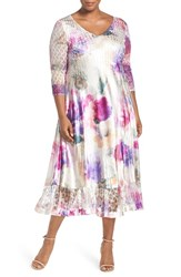 Komarov Plus Size Women's Floral Print Lace And Charmeuse V Neck Dress