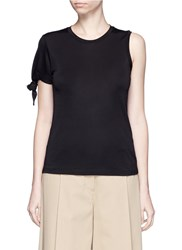 Mo And Co. Knotted Sleeve Pique T Shirt Black