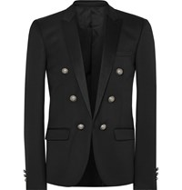 Balmain Black Slim Fit Satin Trimmed Wool Blazer Black