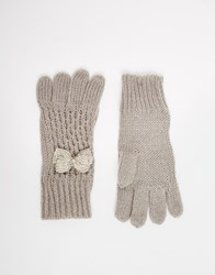 Oasis Bow Gloves Grey