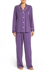 Lauren Ralph Lauren Petite Women's Print Cotton Pajamas Purple Dot