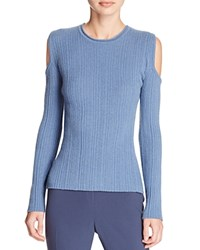 Elie Tahari Marla Cold Shoulder Ribbed Sweater Water Melange