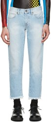 Off White Blue Cropped Jeans