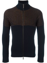 Etro Ribbed Zipped Cardigan Blue