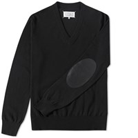 Maison Martin Margiela Maison Margiela 14 Elbow Patch V Neck Jumper Black