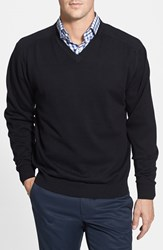 Cutter And Buck Men's Big Tall 'Broadview' V Neck Sweater Black