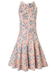 Thakoon Peach Floral Pleated Dress