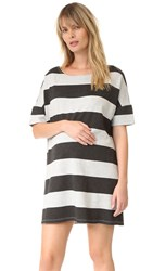 Hatch The Afternoon Dress Charcoal Dark Grey Stripe