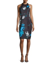 Carmen Marc Valvo Sleeveless Floral Cocktail Dress Black Turquoise