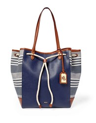 Lauren Ralph Lauren Oxford Striped Jacquard Tote Navy
