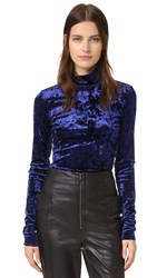 Tibi Stretch Velvet Turtleneck Navy