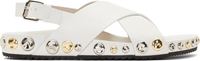 Marc Jacobs White Leather Studded Sandals