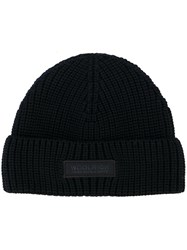 Woolrich Ribbed Logo Plaque Hat Blue