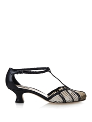 Bottega Veneta Prusse Stuoia Leather Kitten Heel Sandals