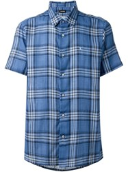 Raf Simons Checked Shortsleeved Shirt Blue
