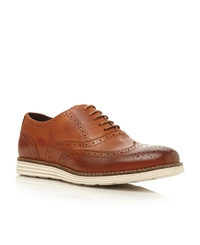 Bayside Lace Up White Wedge Sole Brogues Tan
