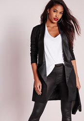 Missguided Satin Lapel Tailored Boyfriend Blazer Black Pink