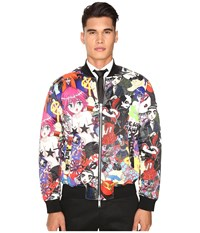 Dsquared All Over Printed Manga Puff Bomber Mix Colours Men's Coat Red