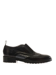 Christopher Kane Leather And Snakeskin Slip On Loafers