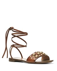 Michael Kors Mica Studded Lace Up Flat Sandals Luggage