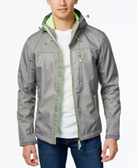 Superdry Men's Windtrekker Hooded Jacket Light Grey Marl Fluro Lime