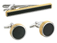 Stacy Adams Set With Grooved Edge Carbon Fiber Two Tone Cuff Links Metallic