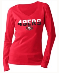 5Th And Ocean Women's San Francisco 49Ers Huddle Le Long Sleeve T Shirt Red
