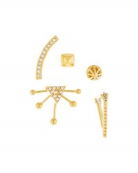 Rebecca Minkoff Singles Club Pave Mix And Match Earring Set Golden