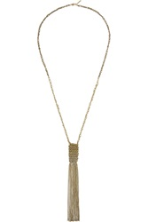 Maje Gil Woven Gold Tone Necklace Metallic